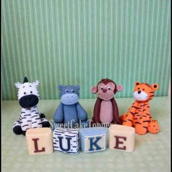 "2.25"" Animal Cake Topper - Handmade Safari Fondant Cake Topper with Name Blocks = 4 Pcs"